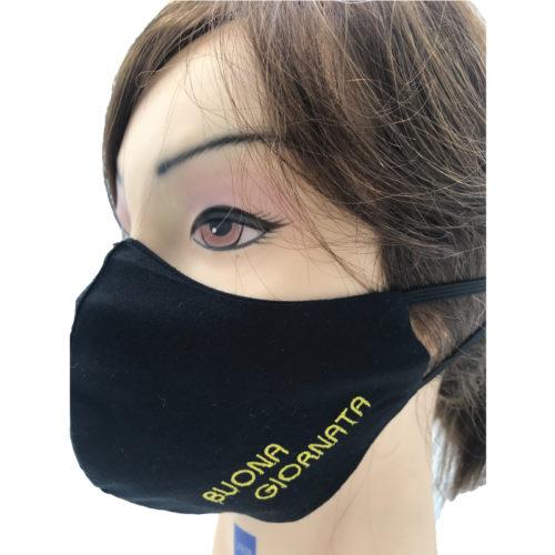 Mascherina Protettiva in Cotone Nera con Ricamo Buona Giornata