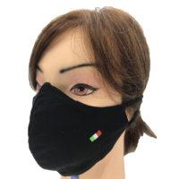 Mascherina Protettiva in Cotone Nera con Ricamo Italia